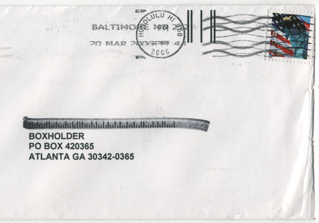 An envelope with a bad barcode