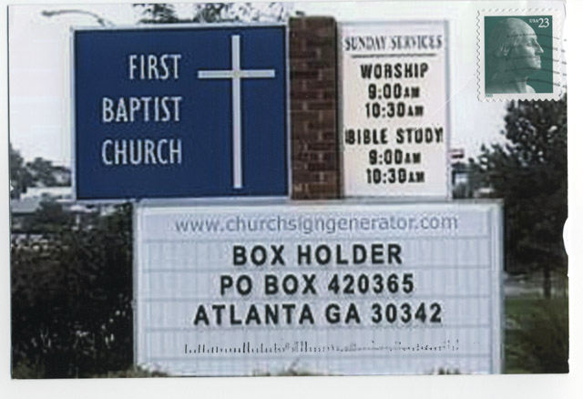 Postcard addressed with the Church Sign Generator