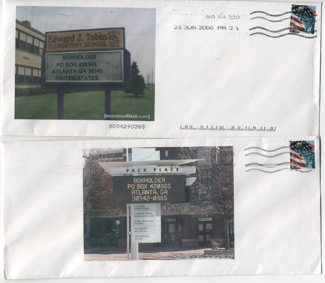 Envelopes with photos of signs for the address