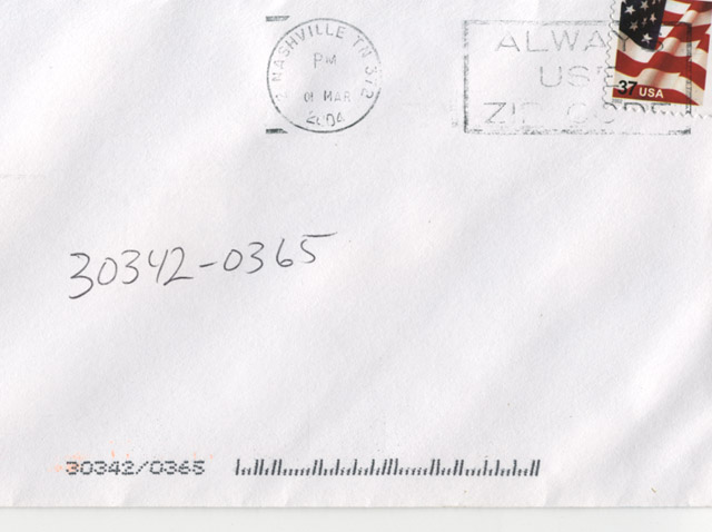 Envelope with just a zipcode, no address