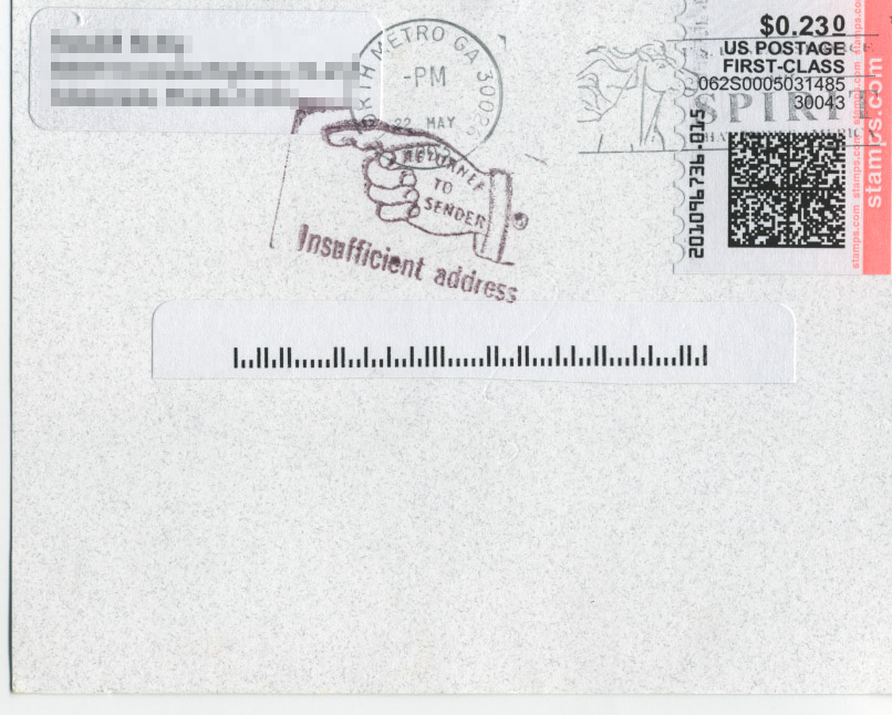 A postcard with just a barcode for the address.